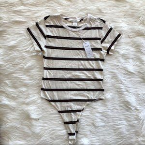 NWT RE/DONE 60's Striped Bodysuit Tshirt Cream